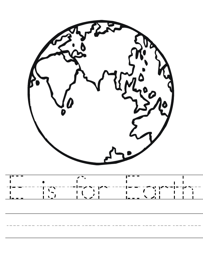 Earth Day Tracing Worksheet