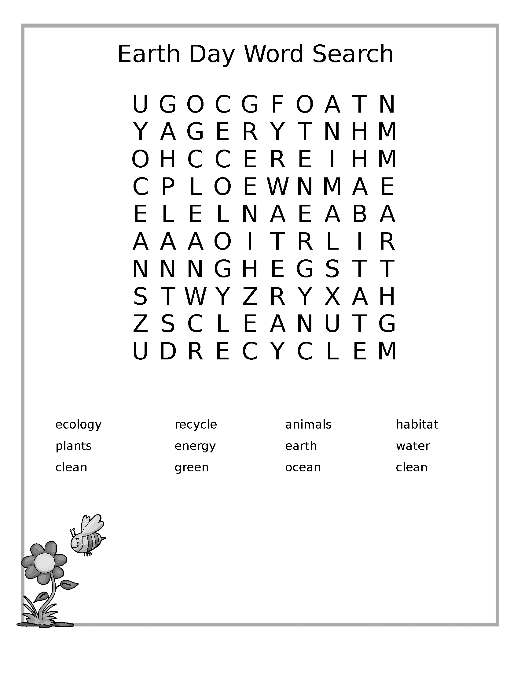 Earth Day Word Search Printables