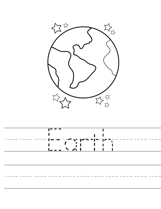 Earth Tracing Worksheet