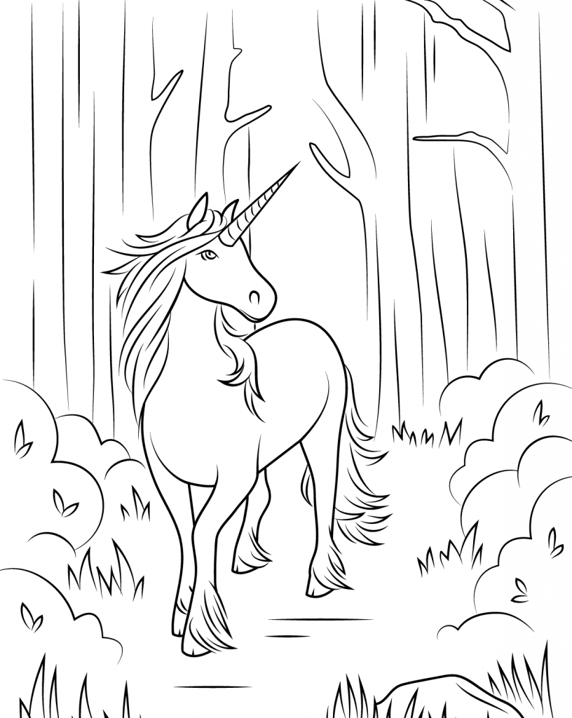 Elegant Unicorn Coloring Page