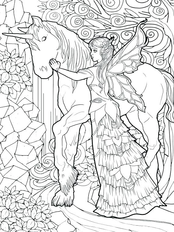 Fairy and Unicorn Coloring Page for Adults