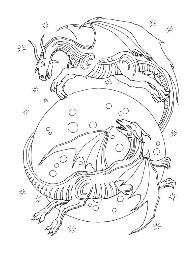 Fantasy Dragon Coloring Pages for Adults