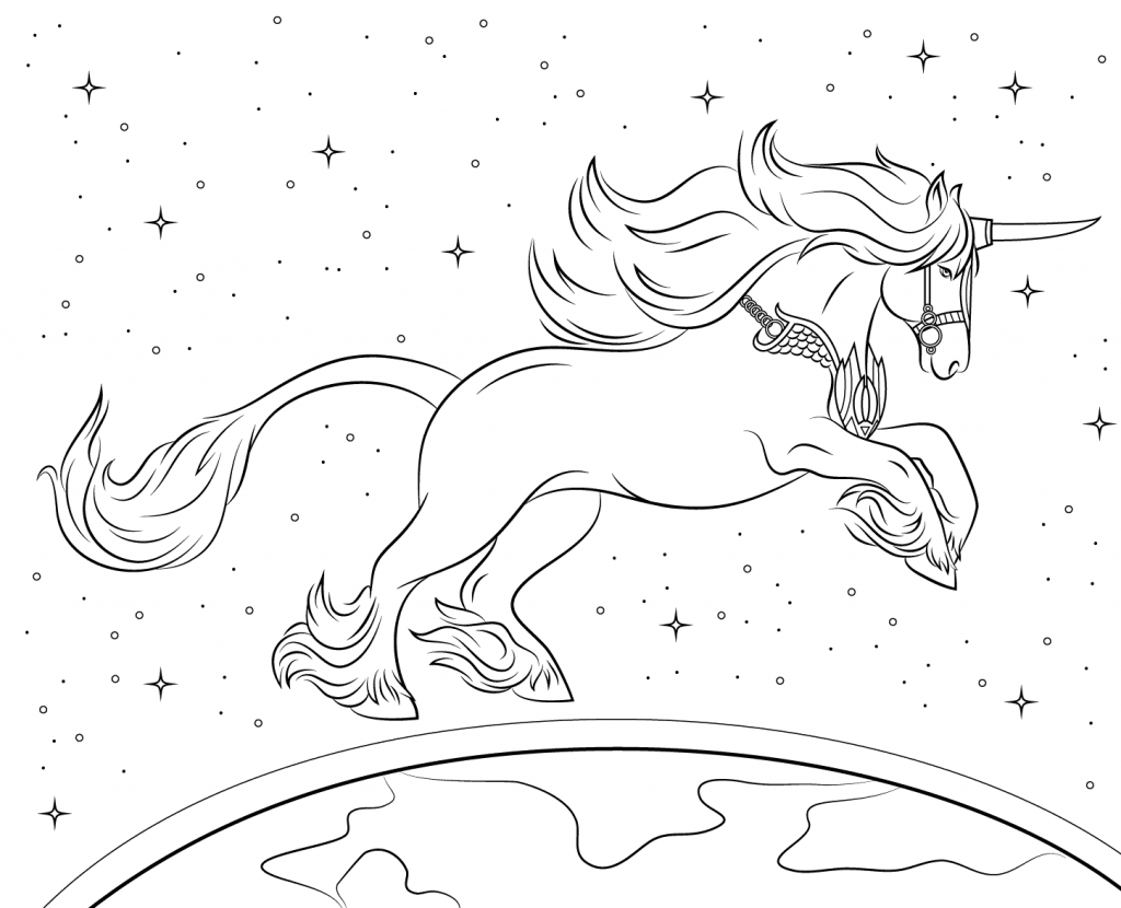 Fantasy Unicorn Coloring Page for Adults