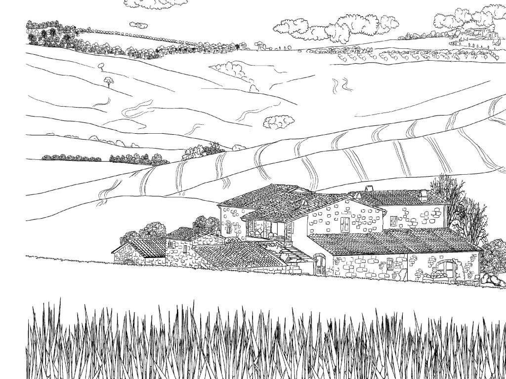 Farm Scenery Coloring Page for Adults