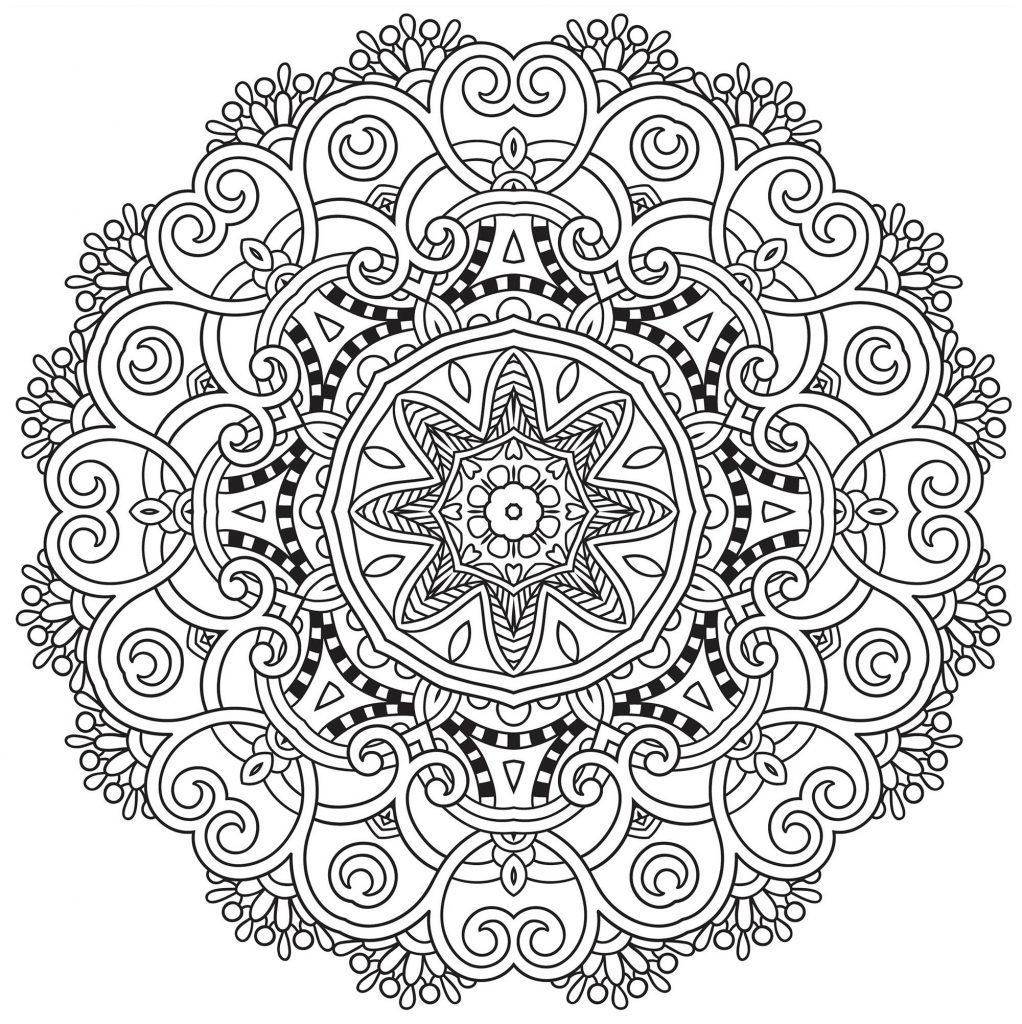 Flower Mandala Adult Coloring Page