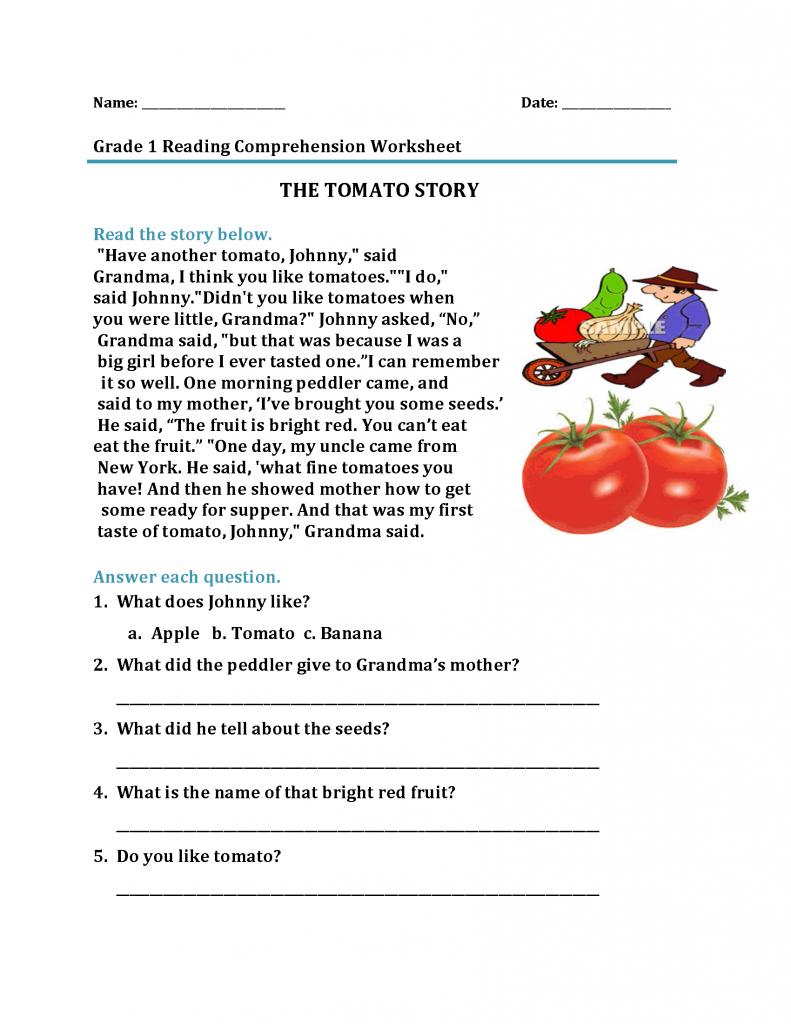 Free 1st Grade Reading Worksheet