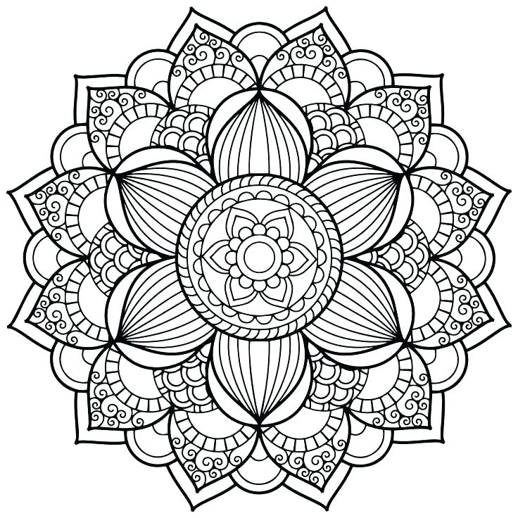 Free Flower Mandala Adult Coloring