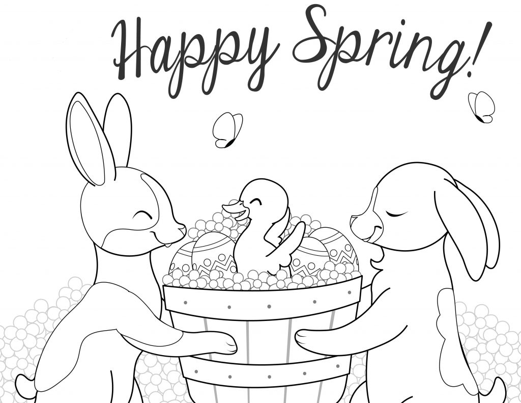 Happy Spring April Coloring Pages