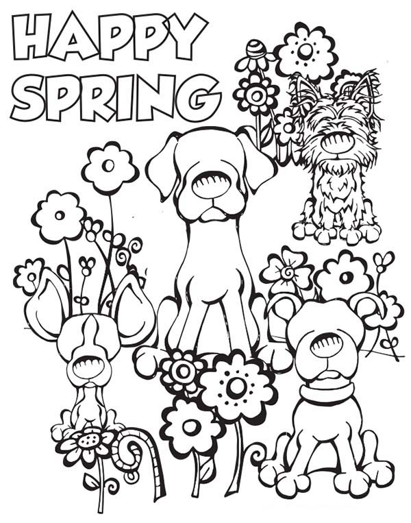 Happy Spring Dogs Coloring Page