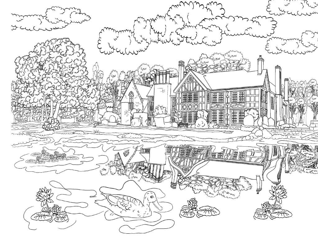 House and Pond Scene Coloring Page for Adults