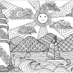Lighthouse Scenery Coloring Page for Adults