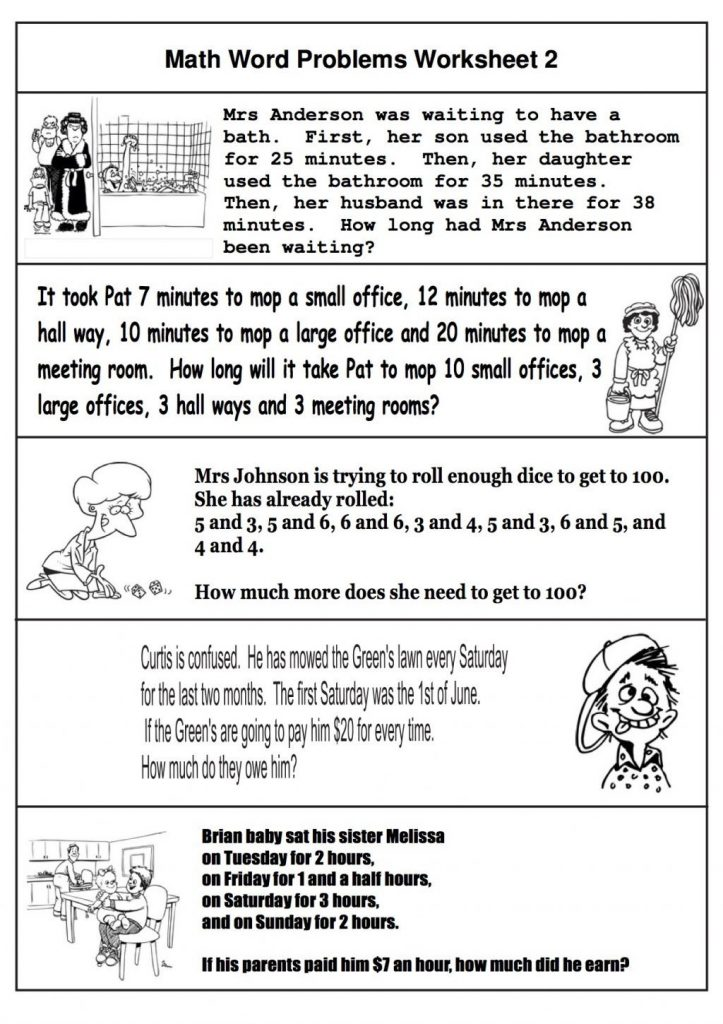 Math Word Problems 2nd Grade Worksheet