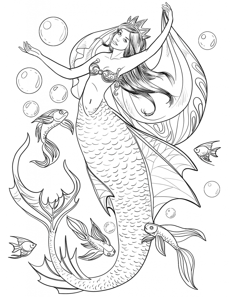 Mermaid and Fish Adult Coloring