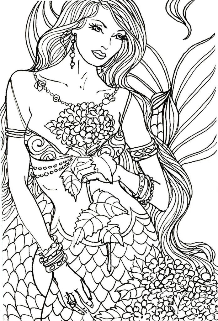 Mermaid with Flowers Adult Coloring