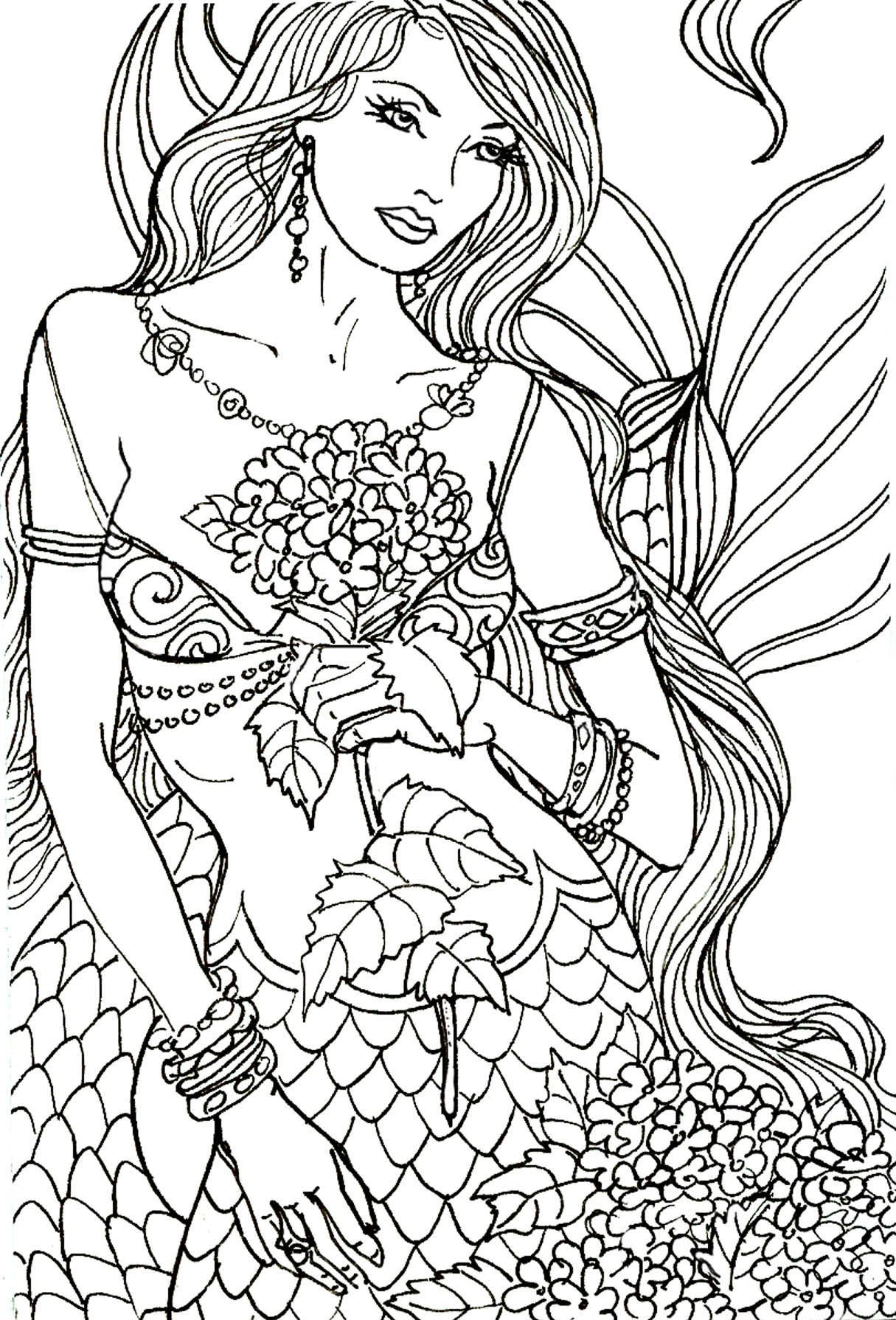 It's just an image of Free Printable Mermaid Coloring Pages for Adults throughout little mermaid