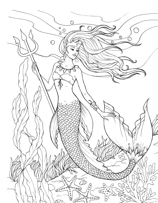 Mermaid with Trident Adult Coloring
