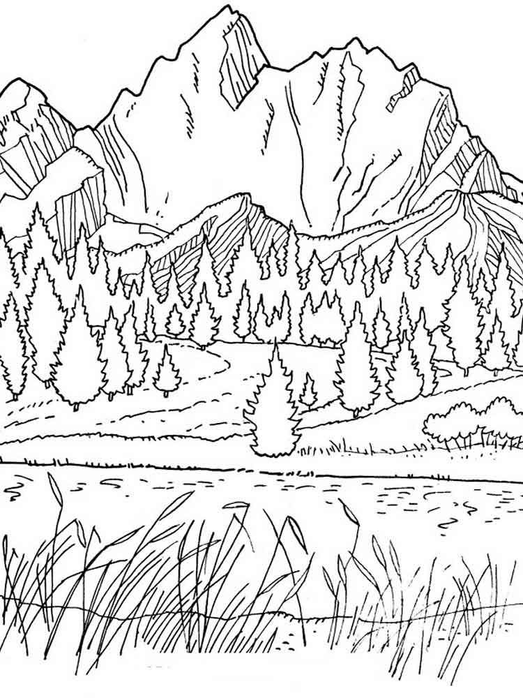 Mountain Scenery Coloring Page for Adults