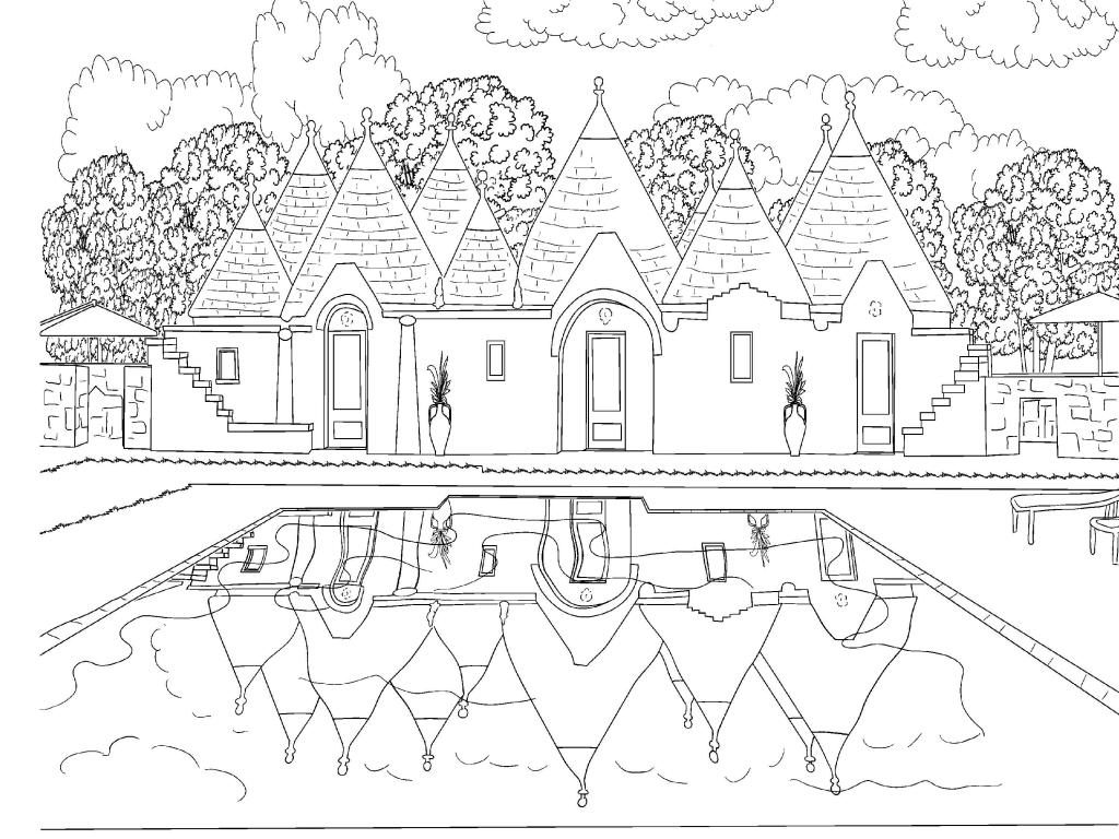 Old House Scene Coloring Page for Adults