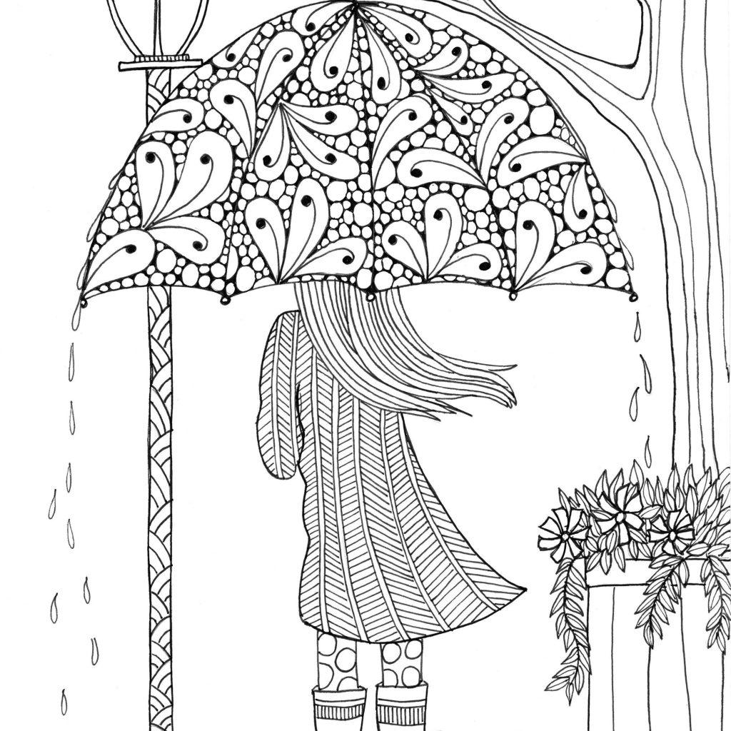 Pretty Umbrella in April Coloring Page