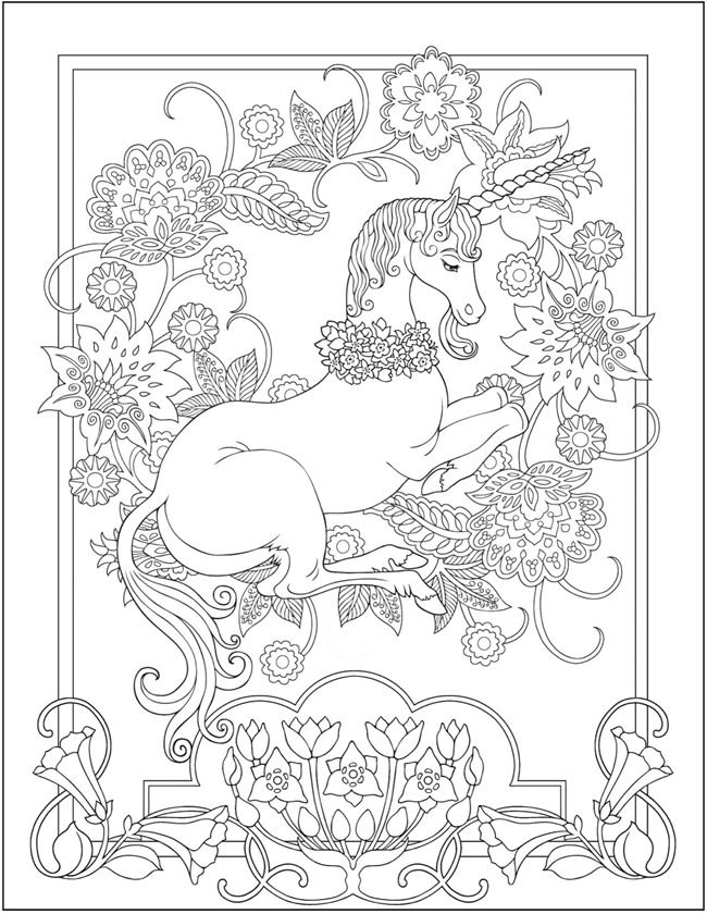 Pretty Unicorn Coloring Page for Adults