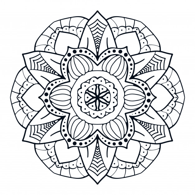 Printable Flower Mandala for Adult Coloring