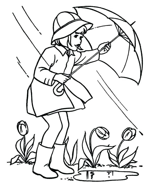 Rain in April Coloring Page