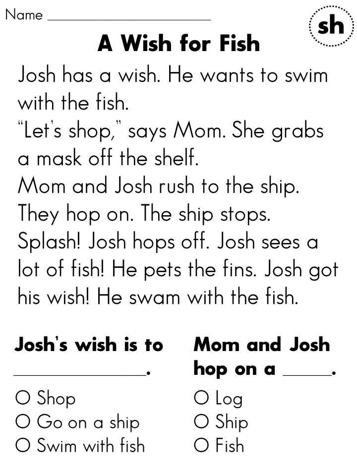 Reading Comprehension Worksheet - 1st Grade