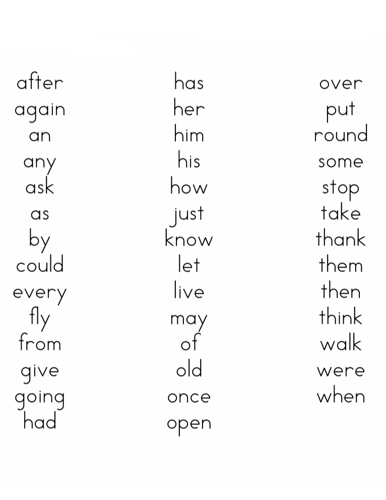 Spelling Words List for 2nd Grade