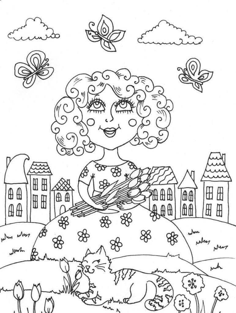spring scene coloring pages - photo#43