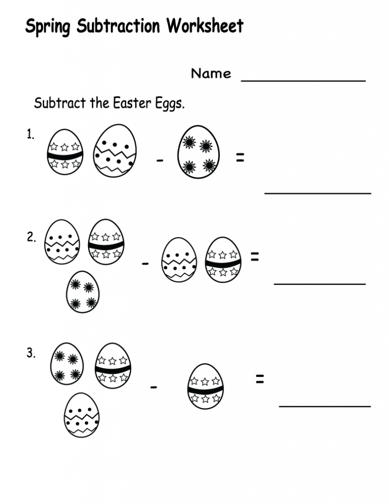 Spring Subtraction Worksheet