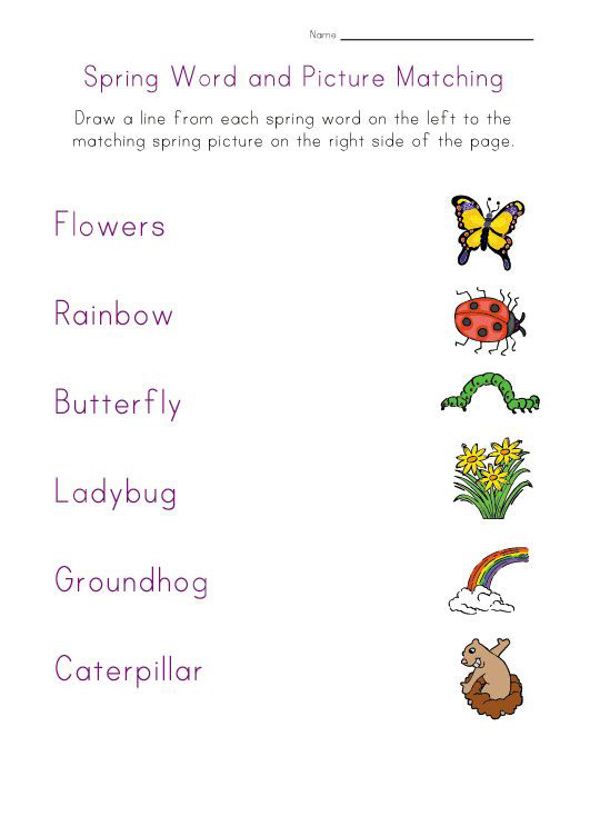 Spring Word and Picture Matching Worksheet