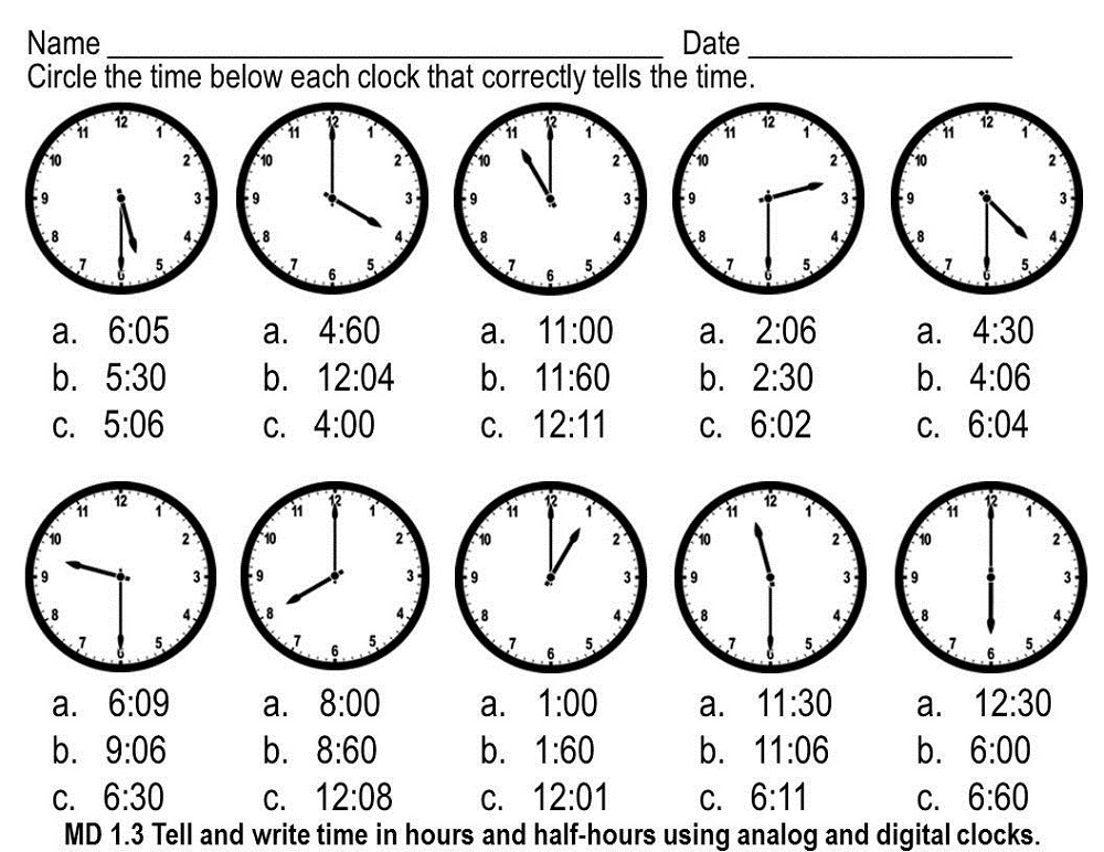 Time Clock 1st Grade Worksheet