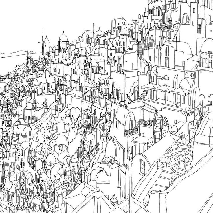 Town Scenery Coloring Pages for Adults