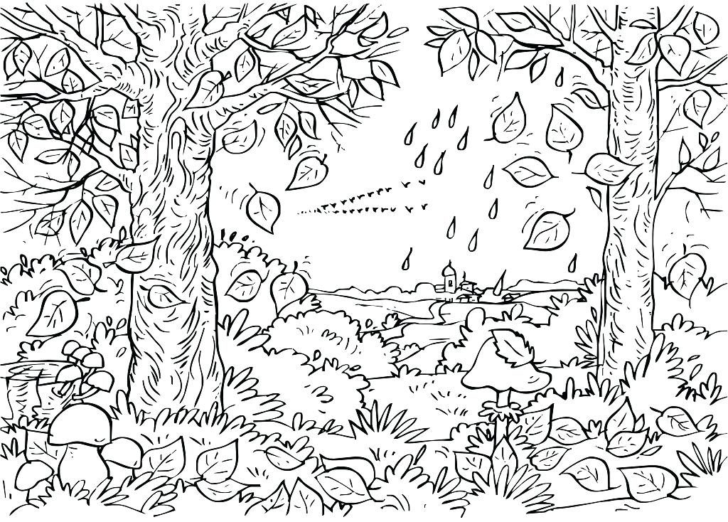 Trees Scenery Coloring Page for Adults