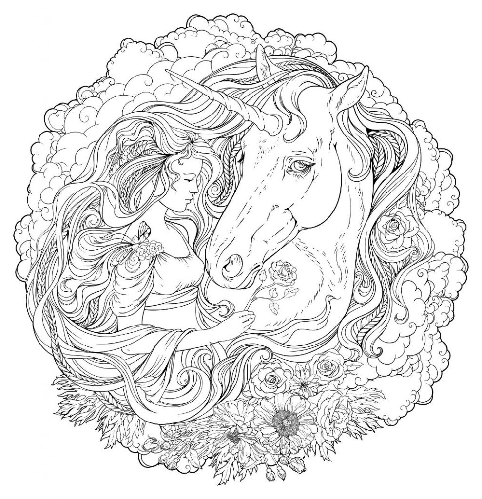 Unicorn Face Coloring Page for Adults