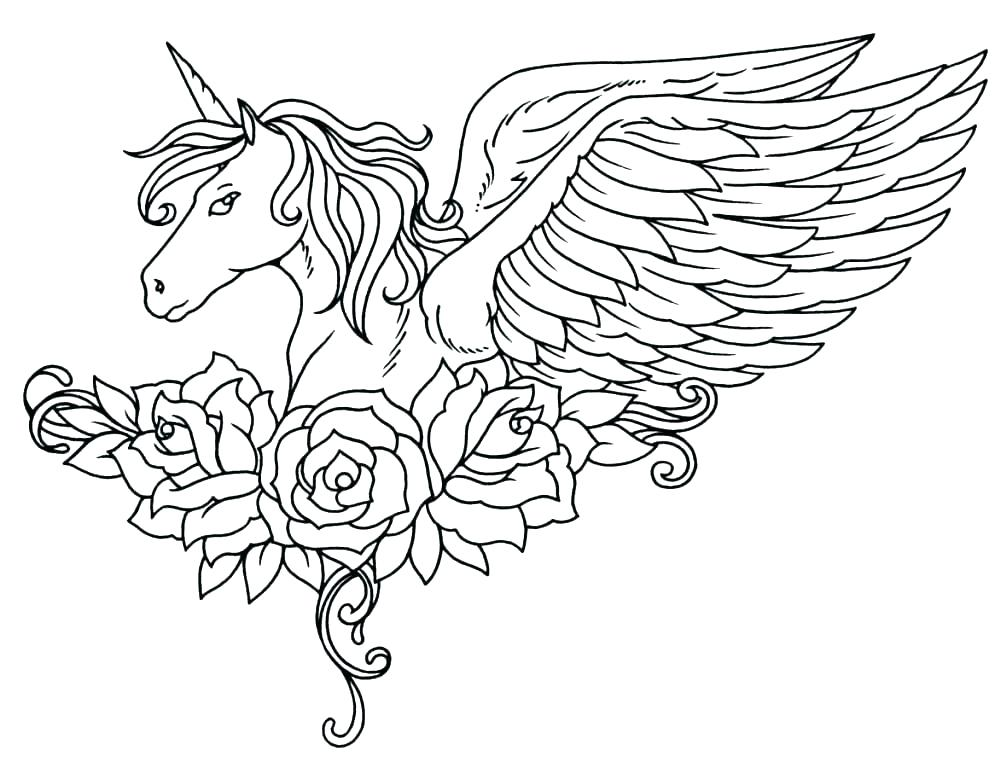 Unicorn and Roses Coloring Page