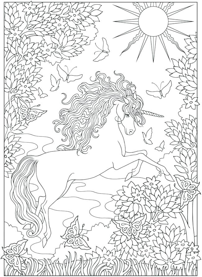 Unicorn in Nature Coloring Page for Adults