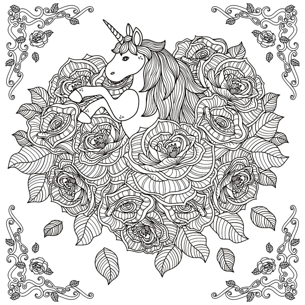 Unicorn in Flowers Coloring Page for Adults