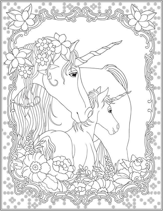 Unicorns Coloring Page for Adults