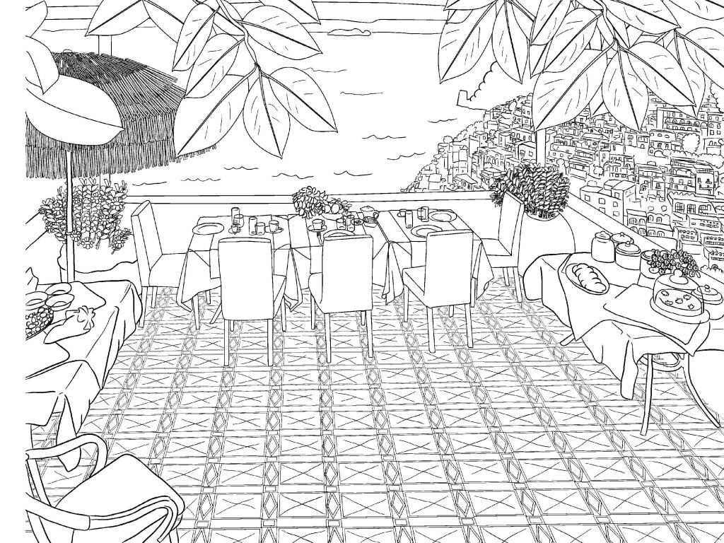 Vacation Scenery Coloring Page for Adults