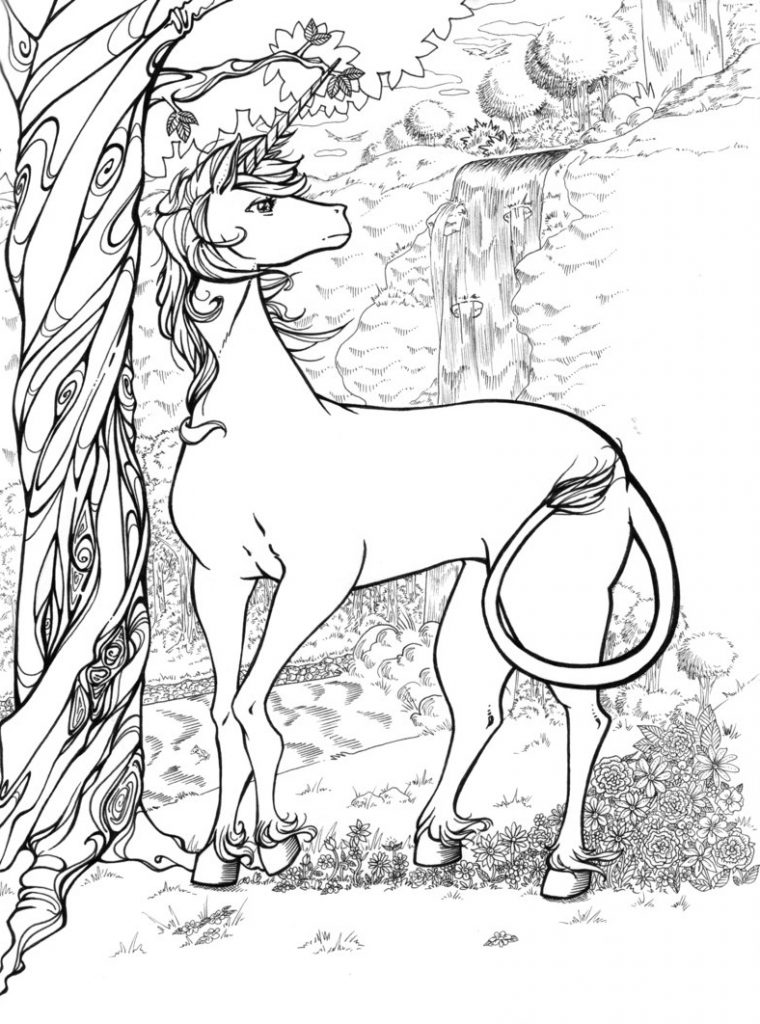 Wild Unicorn Coloring Page for Adults