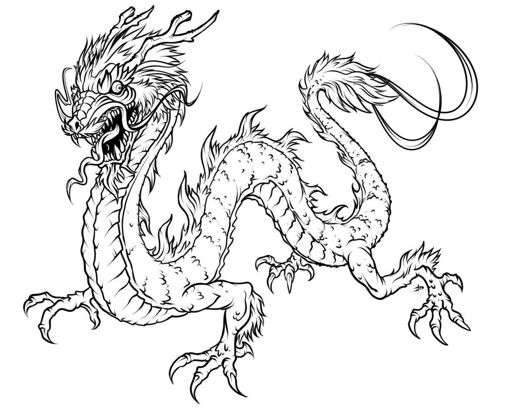 Wingless Dragon Coloring Page for Adults
