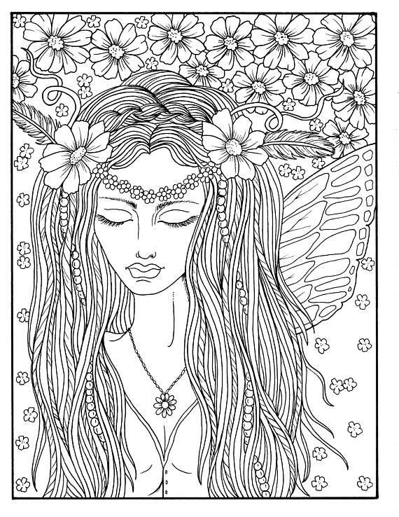 Woman Fairy for Adults to Color