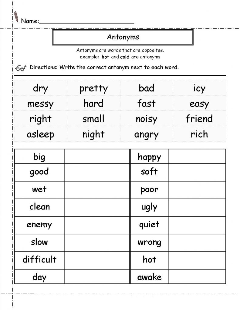 2nd Grade English Worksheets - Antonyms