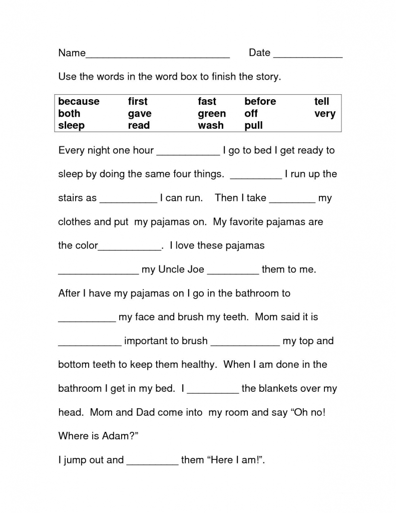 2nd Grade English Worksheets - Finish the Story