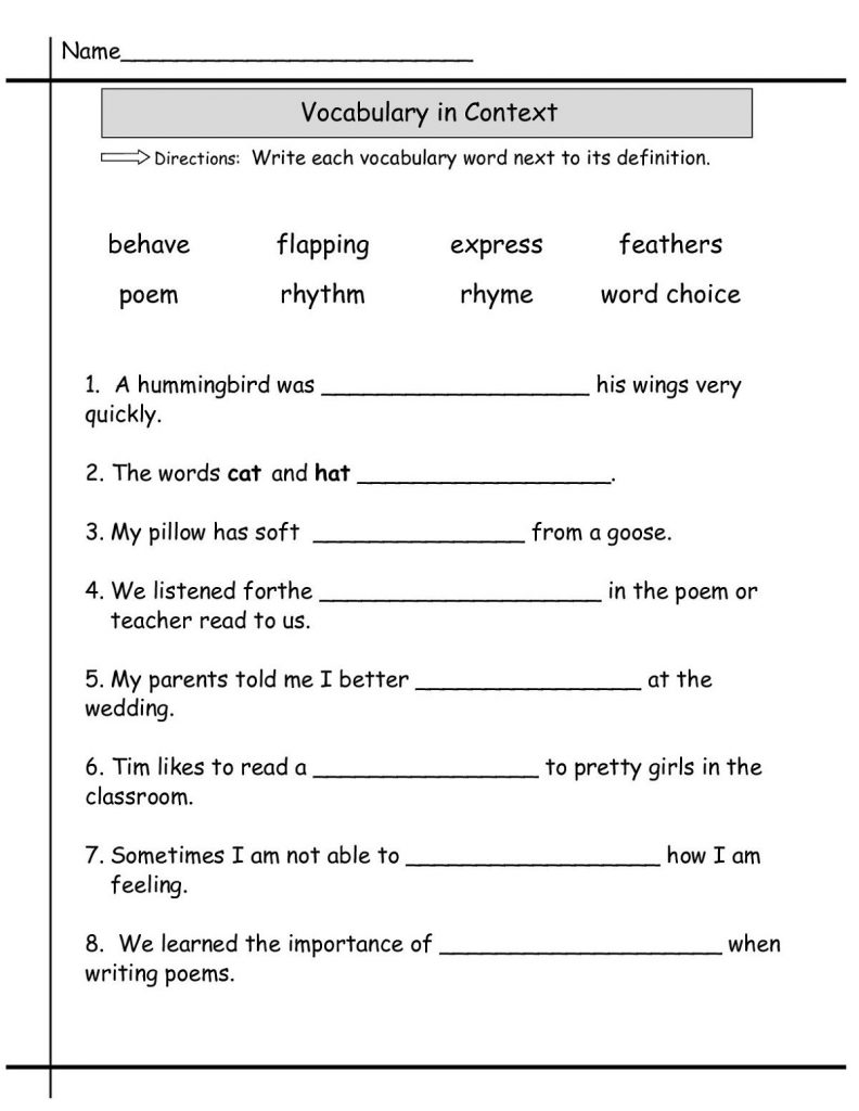 2nd Grade English Worksheets - Vocabulary