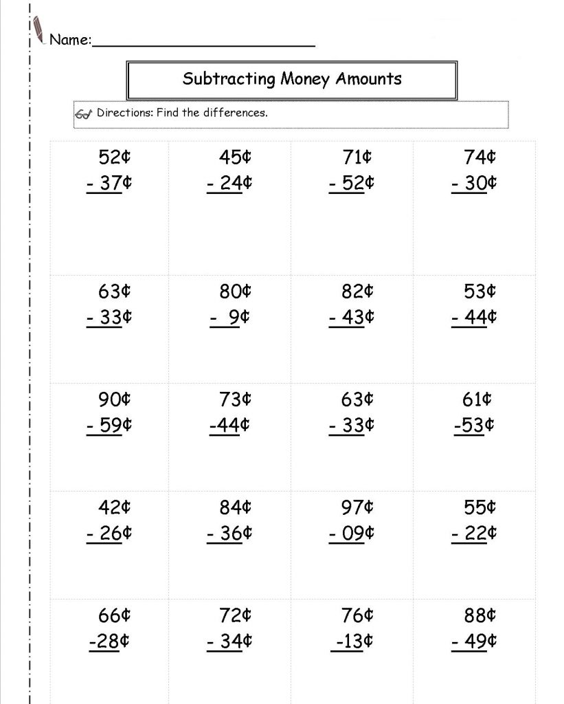 2nd Grade Subtracting Money Worksheets