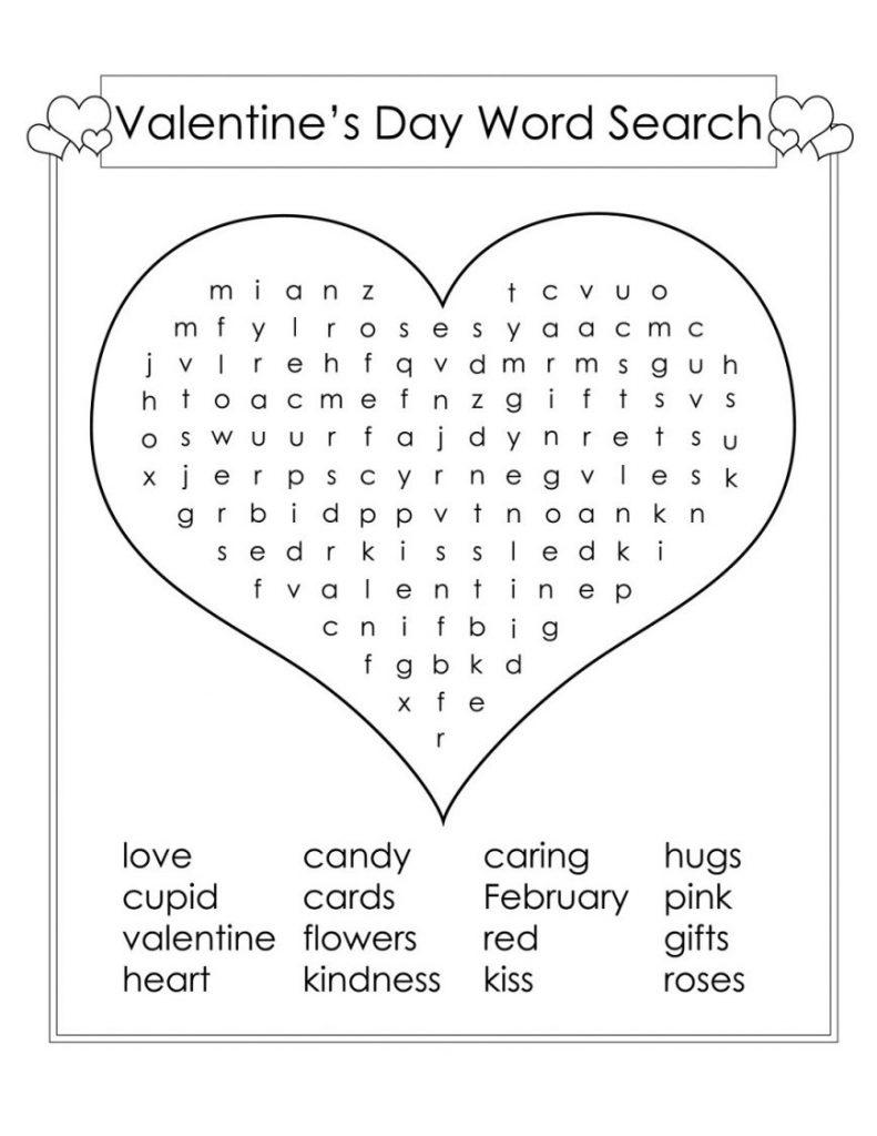 2nd Grade Valentine Word Search