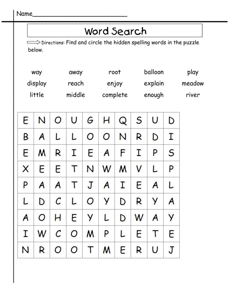 2nd Grade Word Search Puzzle