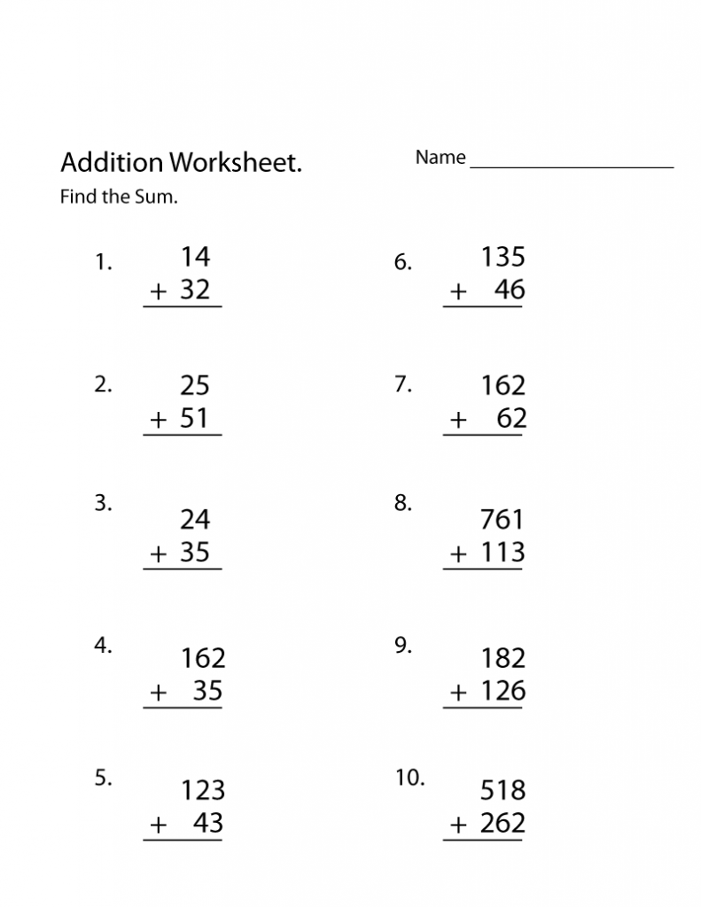 3rd Grade Addition Worksheet